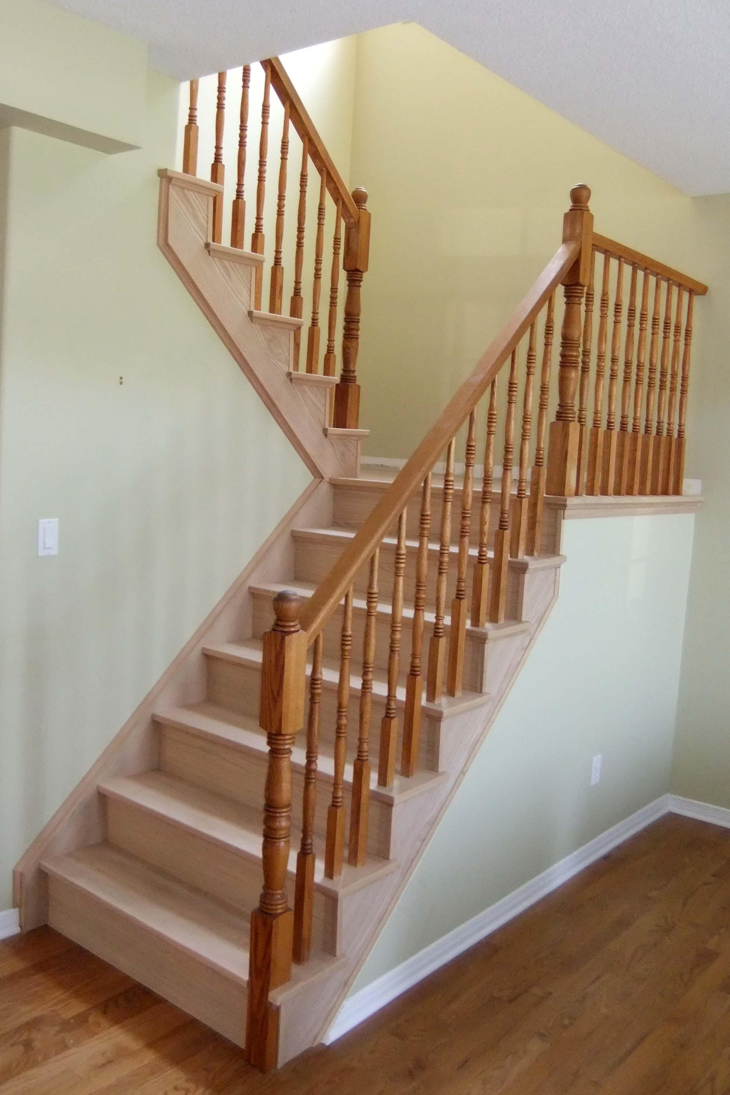 Straight oak stair resurfacing using existing railing